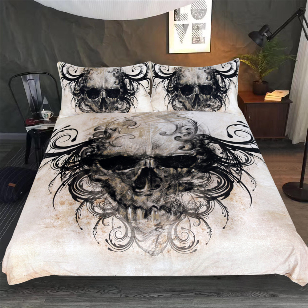 3D Bedding Set Sugar Skull Ghost Duvet Cover Pillow cases Queen Size Black Color