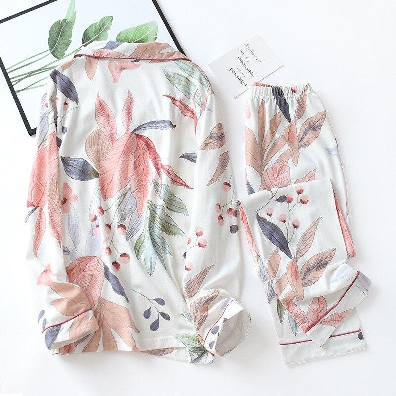 Image 4 - Women Long Sleeve Nightwear Autumn 100% Cotton Knitted Pajama Set Turn down Collar Leaves Printing Pajamas Loungewear SleepwearPajama Sets   -