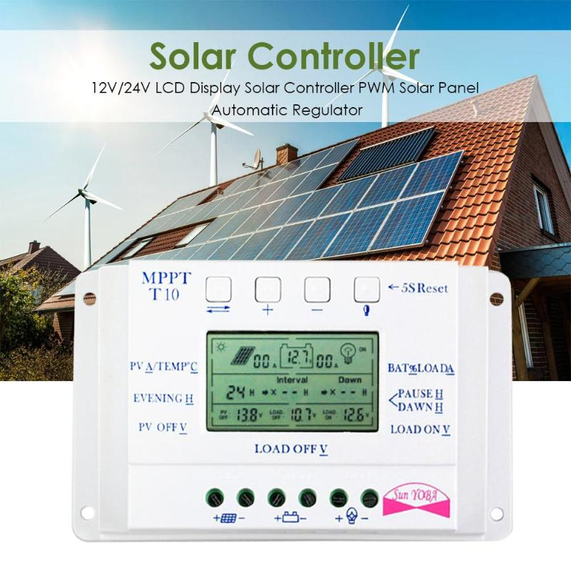 Wyświetlacz LCD 10A MPPT 12 V/24 V bateria słoneczna Regulator kontroler ładowania regulowane parametry kontroli ładowania i rozładowania