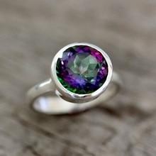 De las mujeres de la moda anillo Vintage circonita con color de arco iris Anillo Para Mujer Accesorios de la joyería de declaración anillo de bodas anillo de compromiso regalo de la joyería