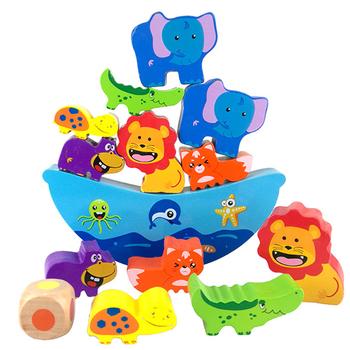 Niemowlę drewniane zabawki klocki balansujące zwierzęta kreskówkowe niebieska łódź klocki drewniane zabawki klocki geometryczne wczesna edukacja prezent tanie i dobre opinie keep away from fire Drewna 5-7 lat Dorośli 2-4 lat Zwierzęta i Natura UQ414254 wood Educational Toys Geometric Shape 0 156kg (0 34lb )