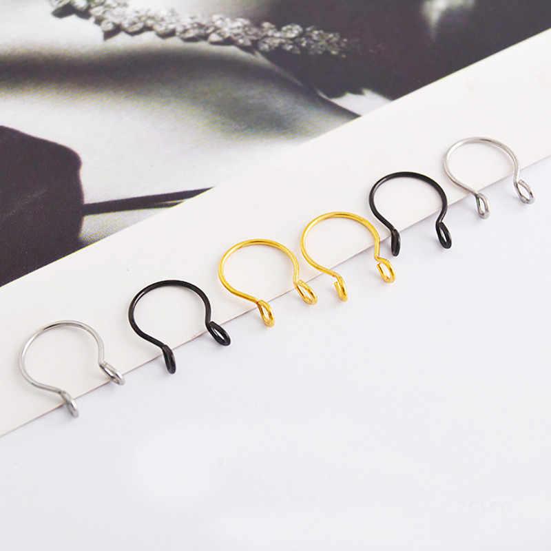 1pc חדש צבעוני U בצורת מזויף האף טבעת חישוק מחץ טבעות נירוסטה האף פירסינג מזויף פירסינג תכשיטים