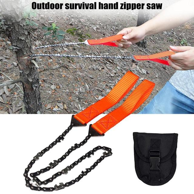 Portable Survival Chain Saw Chainsaws Emergency Camping Hiking Tool Pocket Hand Tool Pouch Outdoor Pocket Chain Saw 4