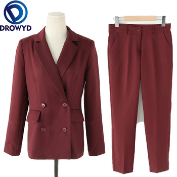 Burgundy Elegant Work Pant Suits OL 2 Piece Set for Women Business Suit Set Uniform Slim Blazer and Pencil Pant Office Lady Suit uniform business pant suits formal jacket and pant blazer set women office lady 2 two pieces suits uniform ka1089