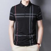 Ymwmhu-Polo a rayas de manga corta para hombre, Polos ajustados, ropa de calle a la moda, camisetas informales de oficina