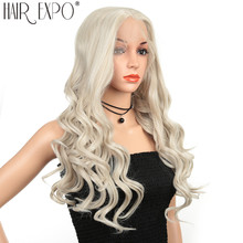26inch Cosplay Wig Synthetic Hair Long Water Wave Lace Front Glueless Anime Wigs Pink Red Color For Women Expo City