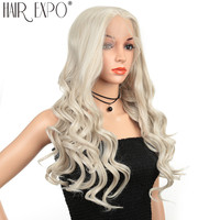 26inch Cosplay Wig Synthetic Hair Long Water Wave Lace Front Wig Glueless Anime Wigs Pink Red Color For Women Hair Expo City