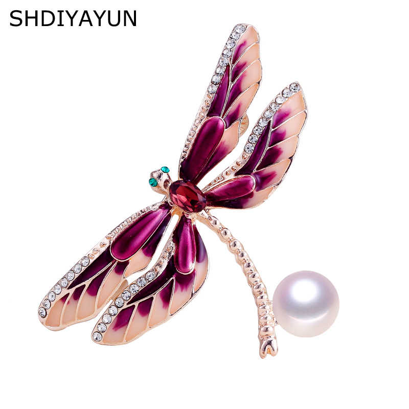Broche de Nueva Perla SHDIYAYUN, broche Simple de libélula para mujer, broche esmaltado, Pins, perlas naturales de agua dulce, accesorios de joyería