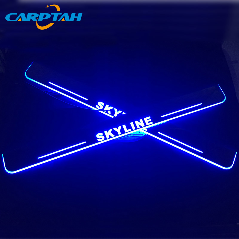 CARPTAH Trim Pedal Car Exterior Parts LED Door Sill Scuff Plate Pathway Dynamic Streamer light For Nissan Skyline R32 R33 R34