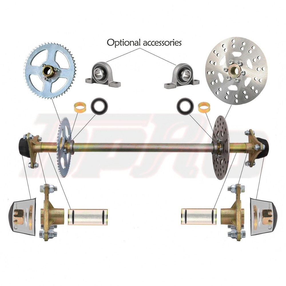 TDPRO Go Kart Rear Axle Kit Brake Hub Disc Rotor T8F Chain Sproket Drift Trike Cart 740mm 29