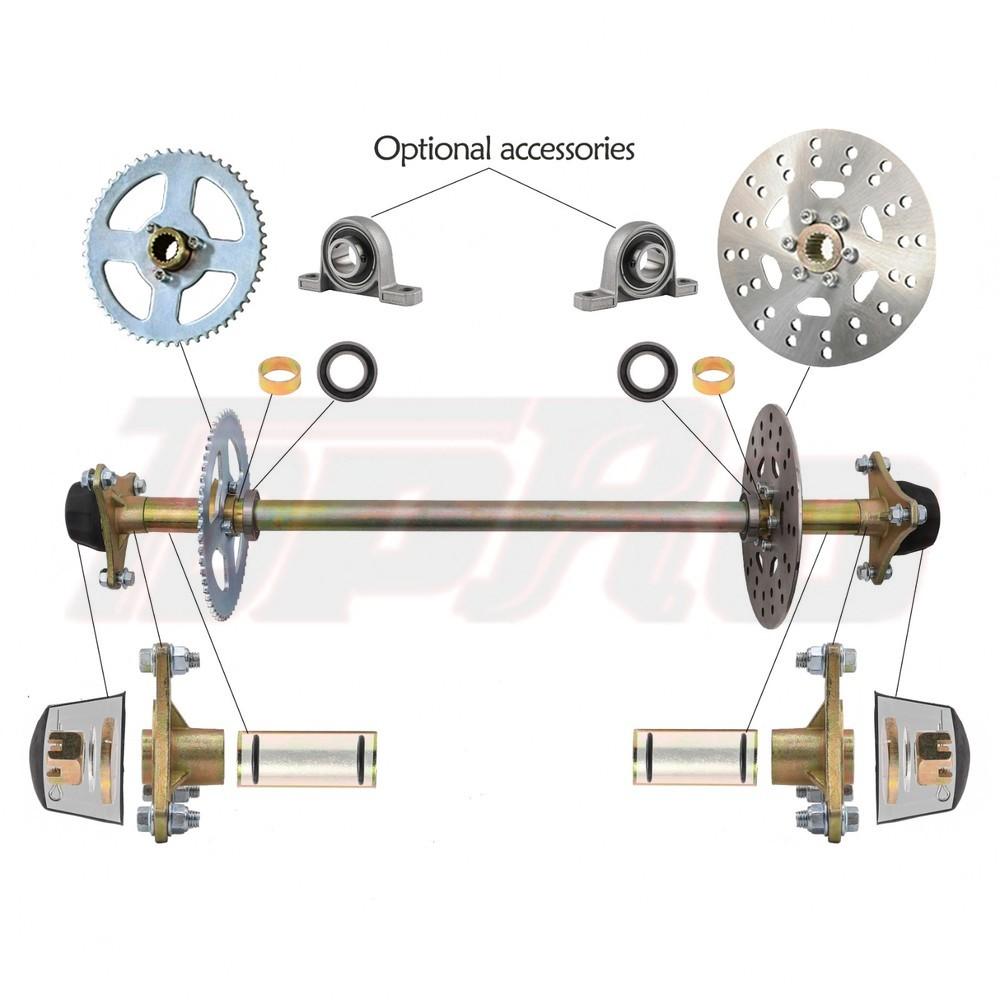TDPRO Go Kart Rear Axle Kit Brake Hub Disc Rotor T8F Chain Sproket Drift Trike Cart 740mm 29