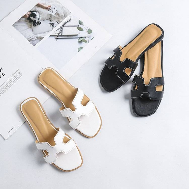H Slippers Female Summer Lazy Flat Non-Slip Soft Beach Sandals And Slippers Outer Wear Shoes Cute Slippers