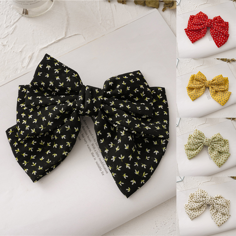 Small Tree Leaves Printed Three Layers Metal Spring Clip Hair Clip Bows Chiffon Hairpins Hair Bow Oversized Barrettes