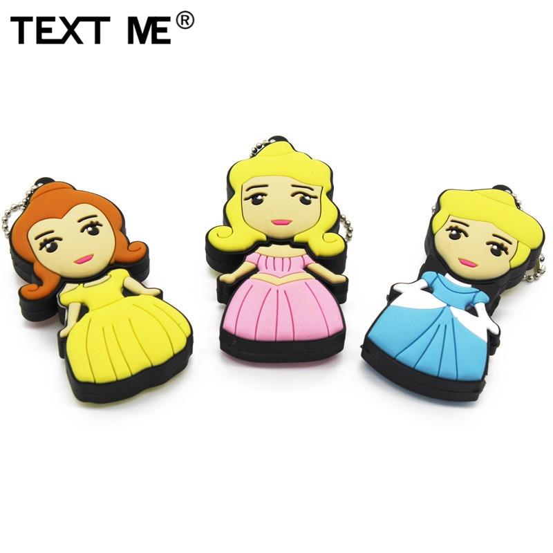 TEXT ME Cartoon Cute Princess Model Usb Flash Drive Usb 2.0 4GB 8GB 16GB 32GB 64GB Cute Gift