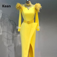 Yellow Feather Mermaid Evening Dress Slit Satin vestido de festa Islamic Dubai Kaftan Saudi Arabic Evening Gown Prom Dress