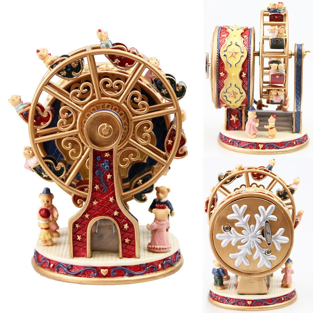 Resin Rotating Music Box Bear Music Box Rotating Ferris Wheel Christmas Children Gift Decoration For Valentine Day Gift
