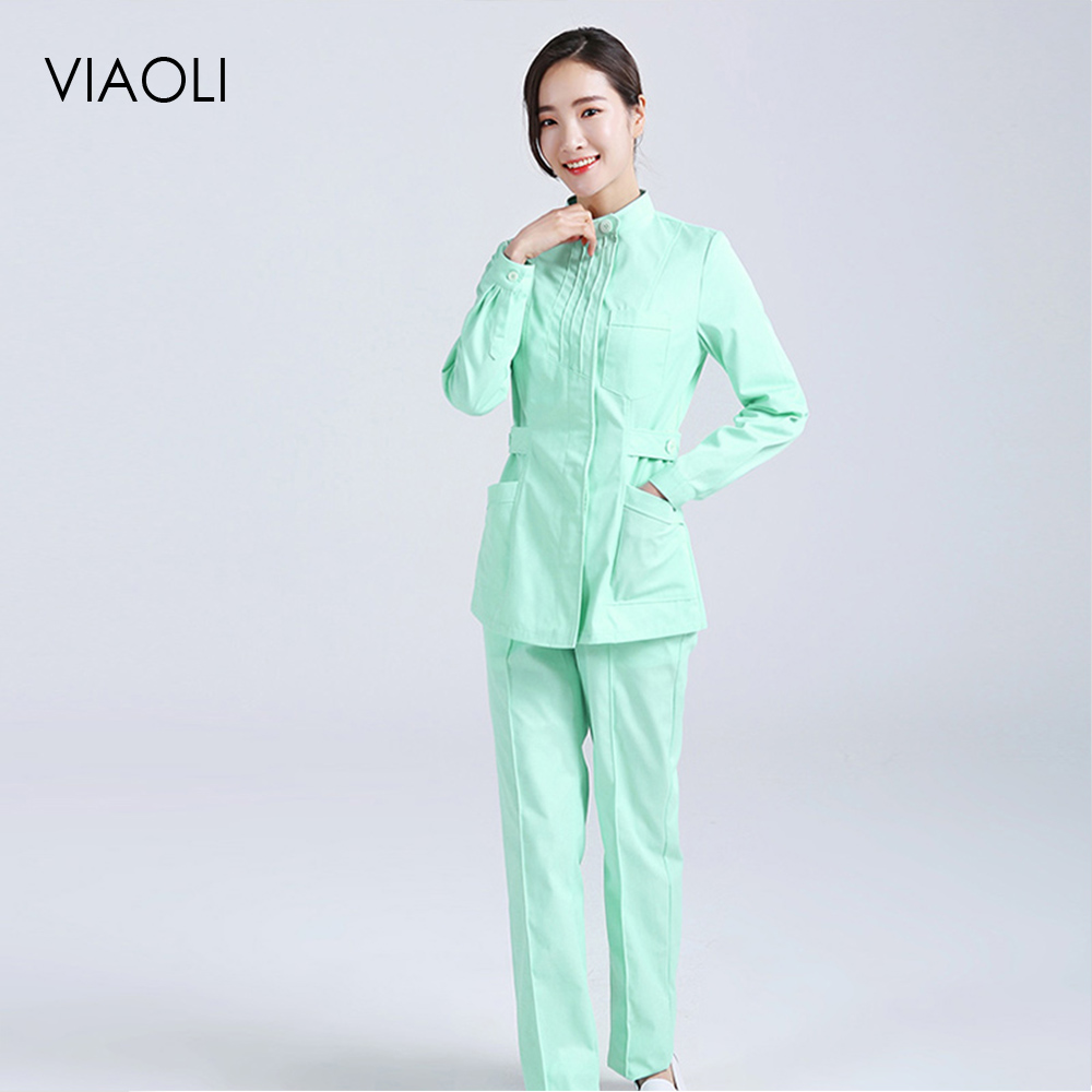 Nurse Suit Split Suit Male And Female Doctors Wear ICU Dental Oral Summer Surgery Surgical Wash Clothes Nurse Uniform Longsleeve