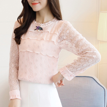 Women Elegant White Lace Blouse 2019 Autumn layered Hollow Out Flower Shirt Women Tops O Neck beading Long Sleeve Blusas 804i new spring autumn kids baby girl s lace flower pattern shirt tops long sleeve blouse pullover o neck white costumes