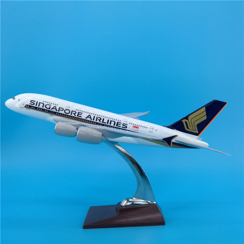 <font><b>1</b></font>:<font><b>200</b></font> Scale 36CM <font><b>Airplane</b></font> SINGAPORE AIRLINES Airbus A380 Airline <font><b>Model</b></font> Diecast Plastic Resin Plane For Collection Decoration image