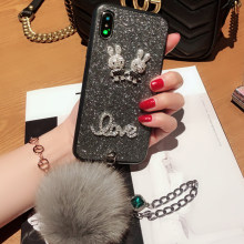 Rhinestone Bracelet Fox Fur Ball Case for Samsung A5 A 6 A7 2018 A70 A720 S9 S10 Plus S10e Luxury Silicone Protective Cover(China)