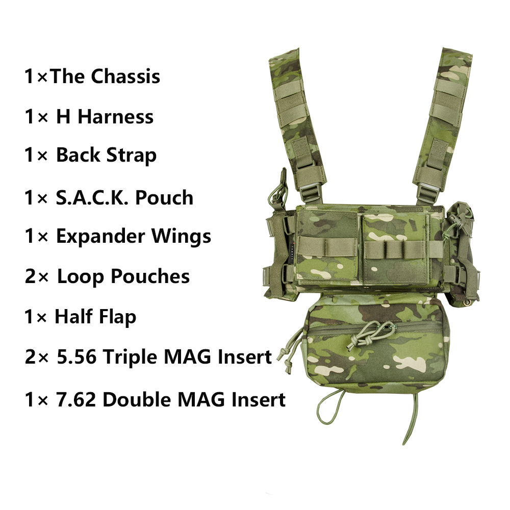 MK3 Vest Tactical Chest Rig Sack Pouch Utility Belly Bag 500D Nylon 5.56 7.62 Magazine Inserts For Combat Airsoft Paintball