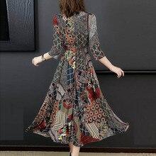 Boho Dress Women Floral Dress V-Neck Three Quarter Sleeve Long Elegant Dress Ladies A-line Party Maxi Dresses vestido de festa