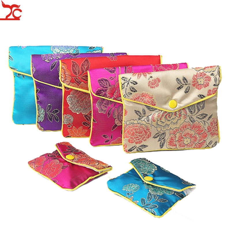 Chinese Brocade Handmade Silk Embroidery Padded Zipper Small Jewelry Gift Storage Pouch Bag Snap Case Satin Coin Purse