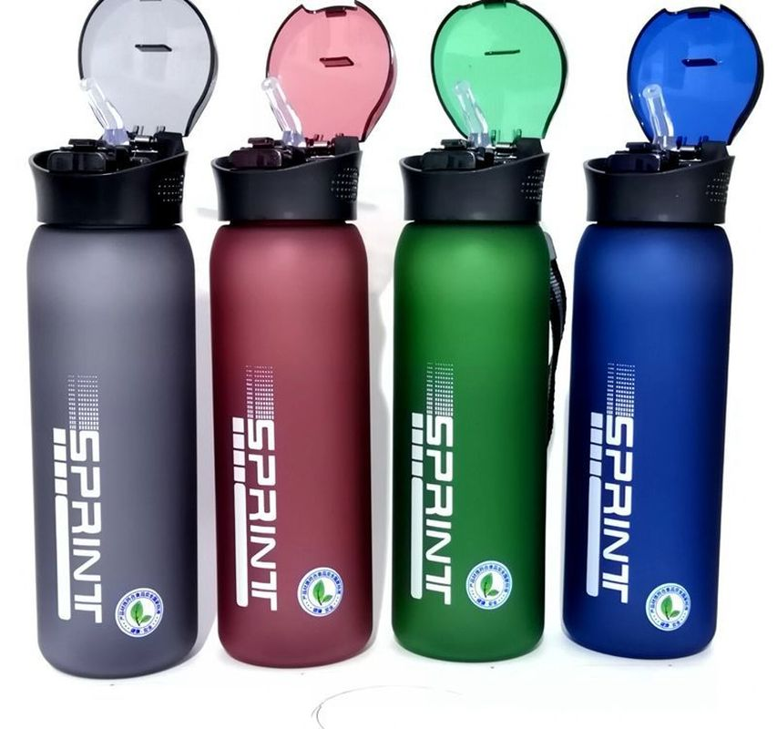 600ML Plastic Water Cup Outdoor Fitness Exercise Kettle Grinding Sand Large Capacity