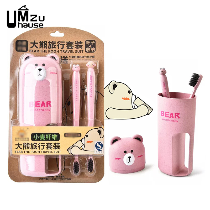 Cute Bears Toothbrush Cups Portable Teeth Travel Storage Boxes Brush Washing Tooth Handle Bottle Case Home Bathroom Organization