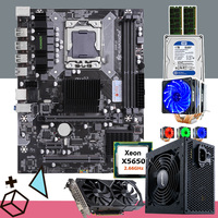 Bilgisayar ve Ofis'ten Anakartlar'de HUANANZHI X58 anakart combo CPU Intel Xeon X5650 soğutucu RAM 16G (2*8G) 500W PSU kartı GTX1050Ti 4GD5 1TB HDD