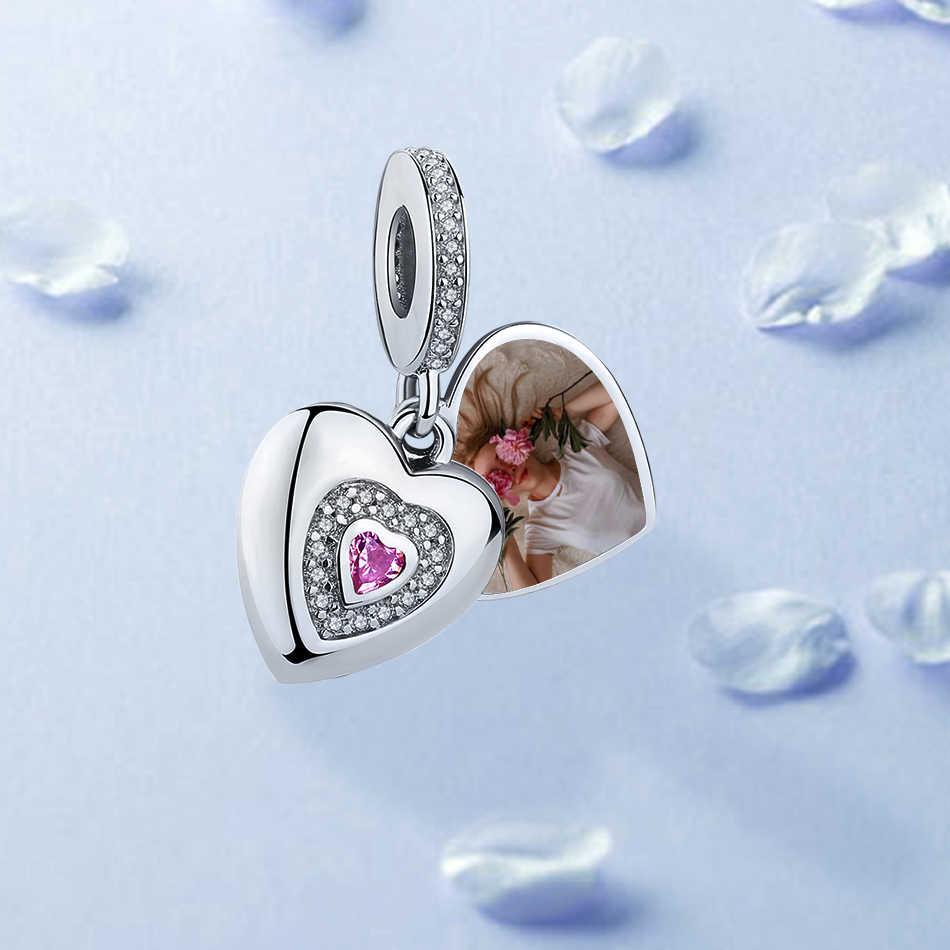 100% 925 Sterling Silver Photo Custom Pesona Hati Kristal Cinta Selamanya Liontin Cocok dengan Merek Gelang untuk Wanita Perhiasan Hadiah