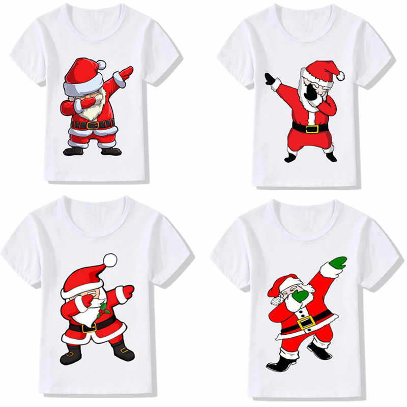 Kids Girls Boys Funny Christmas T-shirts Clothes Baby Santa Claus T Shirt 2 4 6 Children Clothing Tops Tshirt T-shirt White Tees
