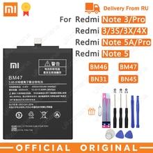 Xiao mi batteria originale per telefono BM47 per Xiao mi Red mi 3 3S 3X 4X 3 pro Note 3 5 5A Pro mi 5X BM46 BN31 BN45 batterie di ricambio