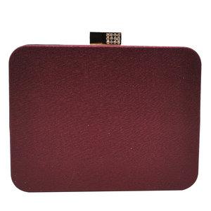 Image 2 - Boutique De FGG Wine Red Crystals Appliques Women Metal Box Clutch Evening Purses and Handbags Bridal Wedding Party Bag