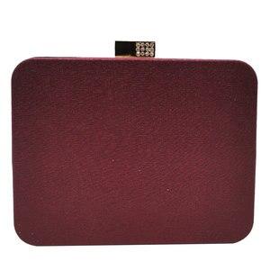 Image 2 - ブティックデfggワインレッドクリスタルアップリケ女性金属ボックスクラッチイブニング財布やハンドバッグ花嫁のウェディングパーティーバッグ