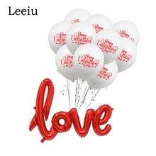Leeiu vermelho branco feliz dia dos namorados balão decoração de casamento folha de amor balões aniversário confetes balões