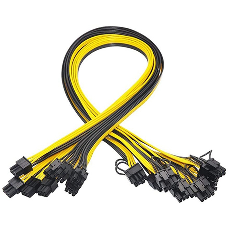 6 Pcs 6 Pin PCI-E to 8 Pin(6+2) PCI-E (Male to Male) GPU Power Cable 50cm for Image Cards Mining Server Breakout Board