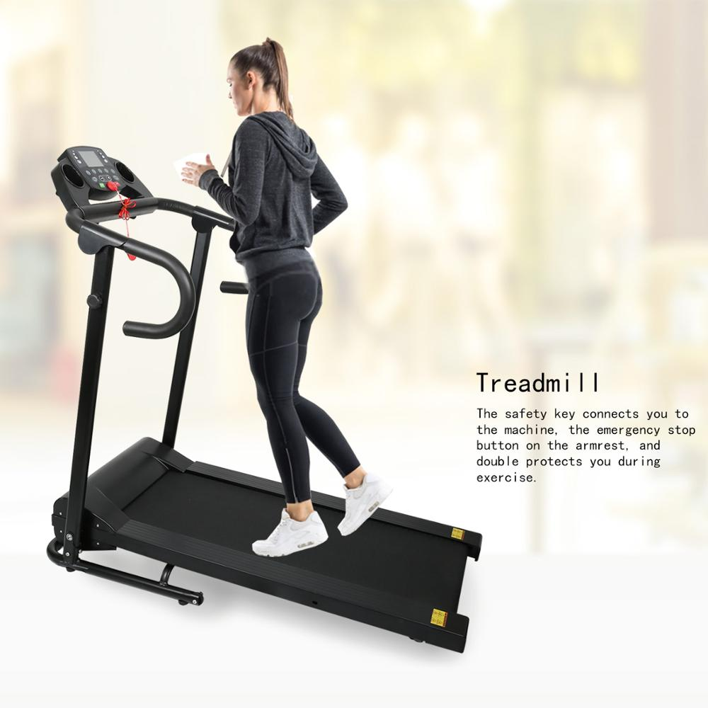 Compact Folding Treadmill 1100W Running Jogging Machine For Home With LCD Display Pad Holder EDF88
