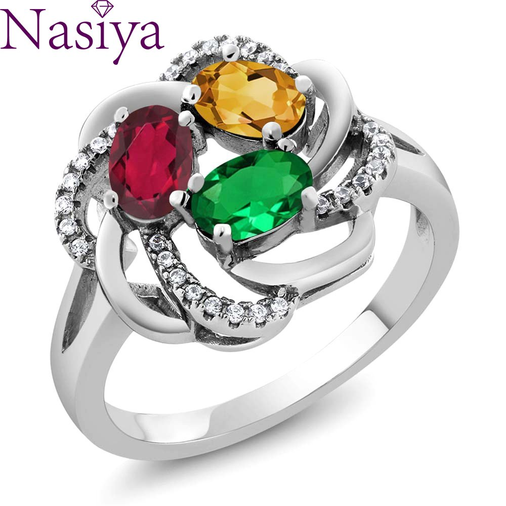 2Pcs Gemstone Silver Ring Creative Flower Ring 925 Silver Jewelry For Women Lady Wedding Party Gift