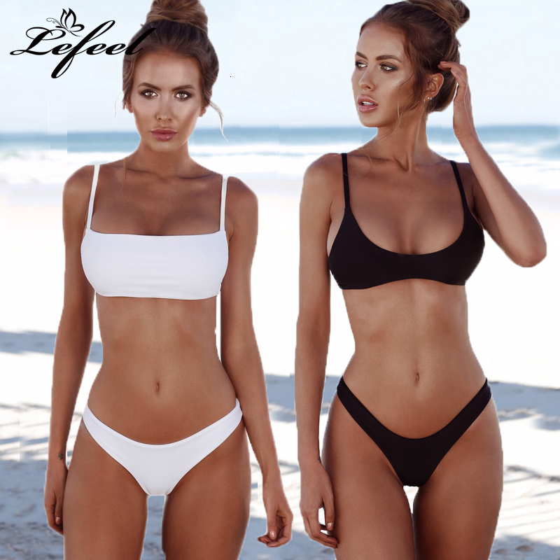 Lefeel Solid <font><b>Bikini</b></font> Set Women <font><b>Sexy</b></font> <font><b>Brazilian</b></font> Swimsuit <font><b>Bikinis</b></font> Summer Tube Top Swimwear Low Waist Bathing Suit Female Biquini image