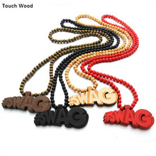 Wood Pendant letter SWAG Necklace Hip Hop Jewelry