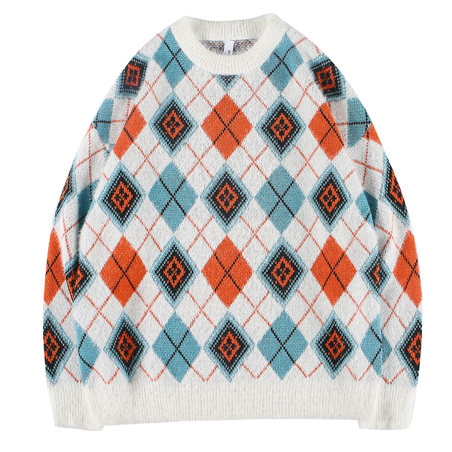 Men's Sweater Fine Knitted Plaid Jumpers Cashmere Stitching Colors Long Sleeve Tops Warmth For Young Boys Outdoor Autumn Winter