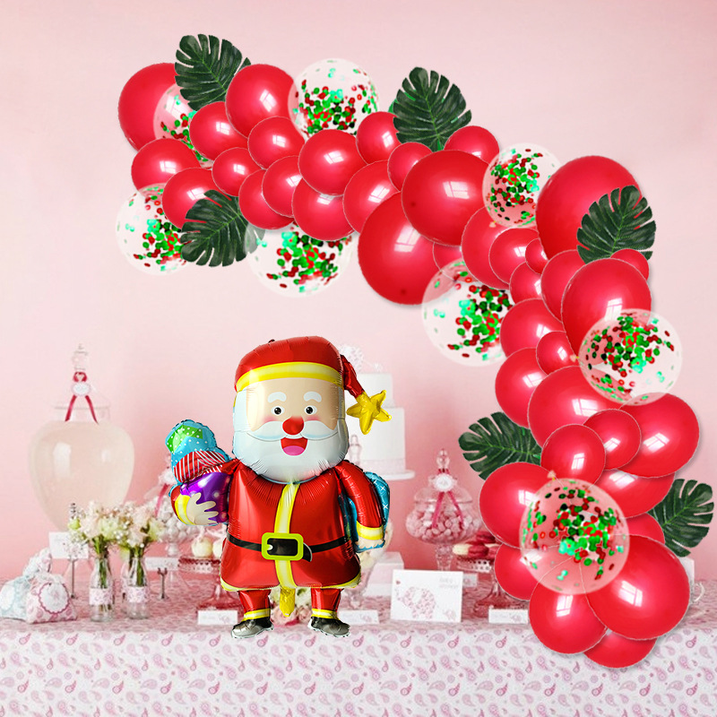 Christmas Balloon Decoration With Christmas Balloon Wreath Balloon Chain Set Turtle Back Leaf Sequins Christmas Balloon Ornament