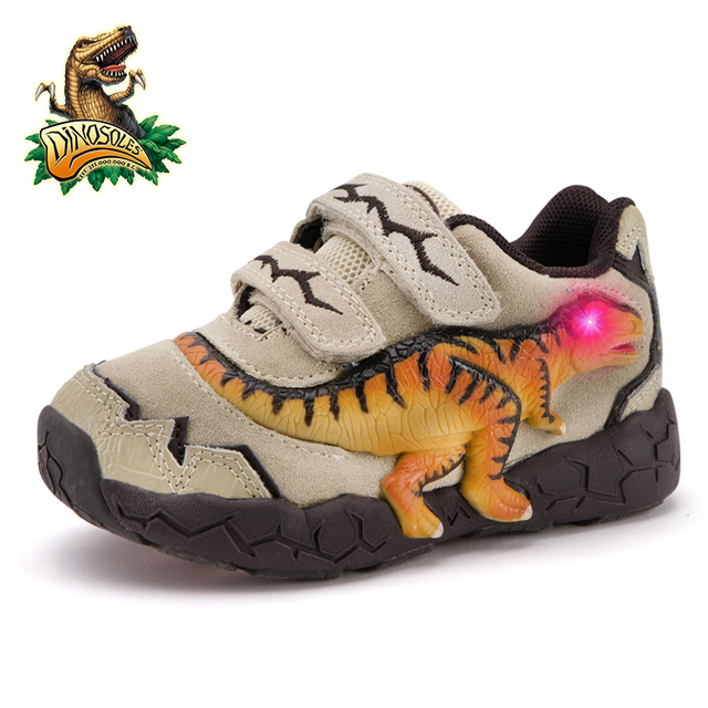 DINOSKULLS 3-9 Years Boys Dinosaur Glowing Sneakers 2019 Autumn Kids LED Sports Shoes With Light Leather Children's T-rex Shoes 1