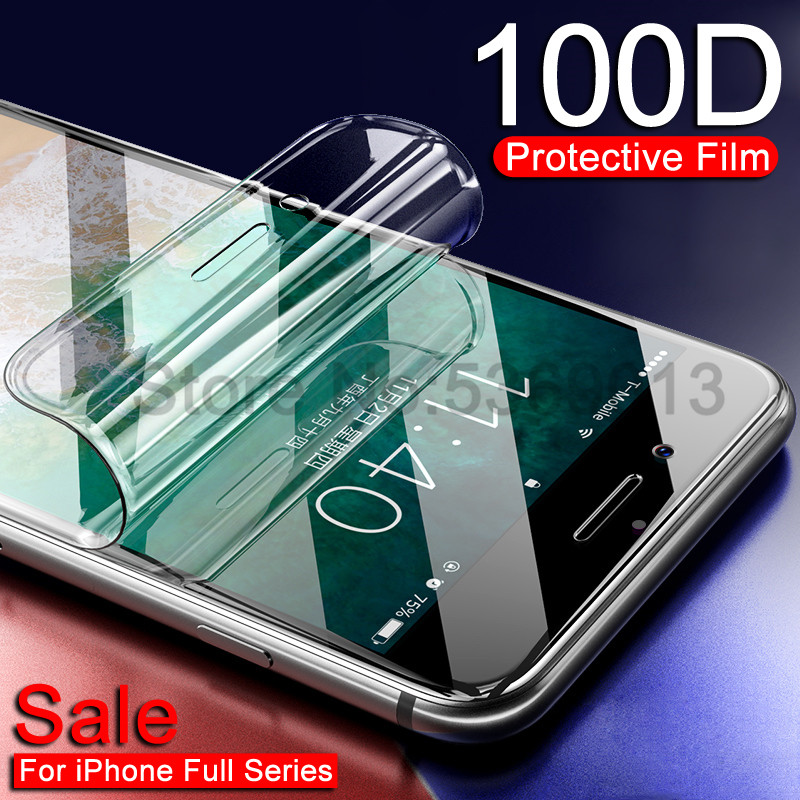 100D Hydrogel <font><b>Film</b></font> For <font><b>iPhone</b></font> 7 8 Plus <font><b>6</b></font> 6s Plus Screen Protector <font><b>iPhone</b></font> X XS XR XS Max 11 Pro Max Soft Protective <font><b>Film</b></font> Case image