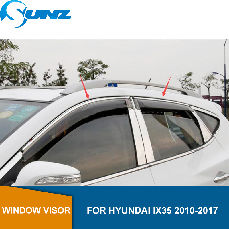 Window Visor for HYUNDAI ix35 2010 2017 side window deflectors rain guards for HYUNDAI ix35 2010 2017 SUNZ-in Awnings & Shelters from Automobiles & Motorcycles