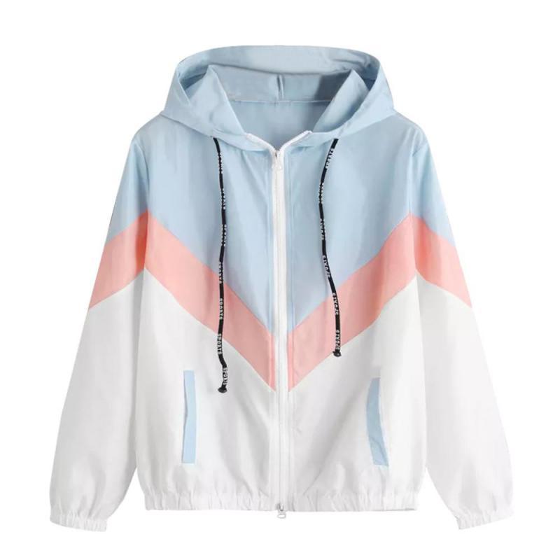 Women Windbreaker   Jacket   Female Multicolor Patchwork Hooded   Jacket     Basic     Jackets   Color Block Coats For Women