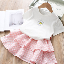 Girls Casual Summer Dresses 2020 New Fashion Sweet Kids Floral Plaid Vestidos Girl Baby Tiered Princess Dress Kids Clothing 2 6Y girl elegant party dress new summer kids tiered mesh dress sweet solid costumes princess suit children clothing 3 7y