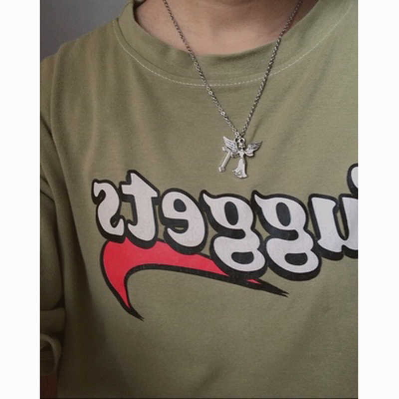 Dropship Vintage Necklace Angel Wing Cross Tumblr Aesthetic Arthor Hiphop Style Necklace Pendant Chain Chic Aliexpress
