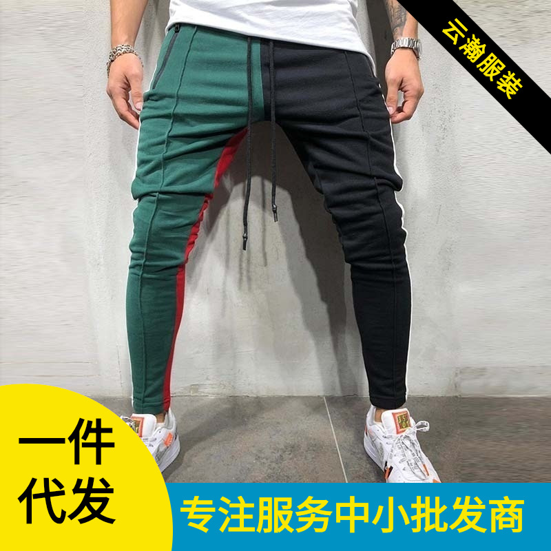 MEN'S WEAR 2019 Hot Selling Spring And Summer Contrast Color Joint Slim Fit Casual Pants